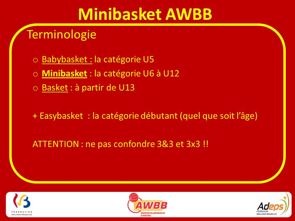 Terminologie Babybasket : la catégorie U5