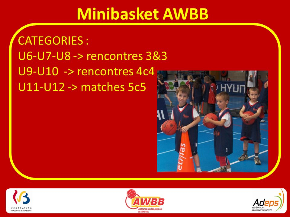 CATEGORIES : U6-U7-U8 -> rencontres 3&3 U9-U10 -> rencontres 4c4 U11-U12 -> matches 5c5