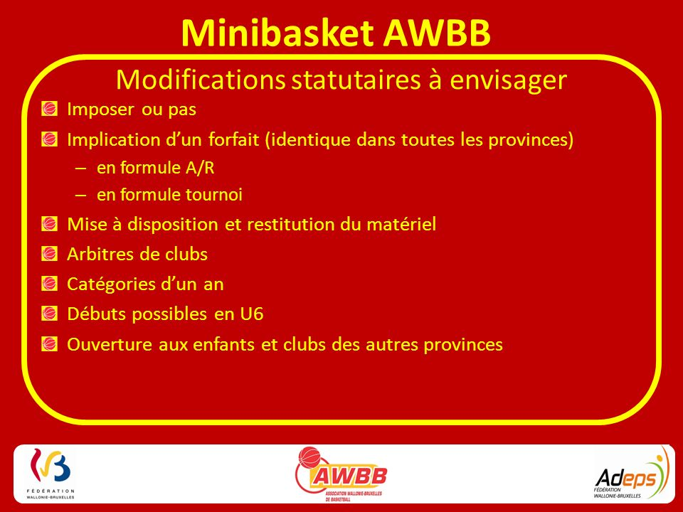 Modifications statutaires à envisager