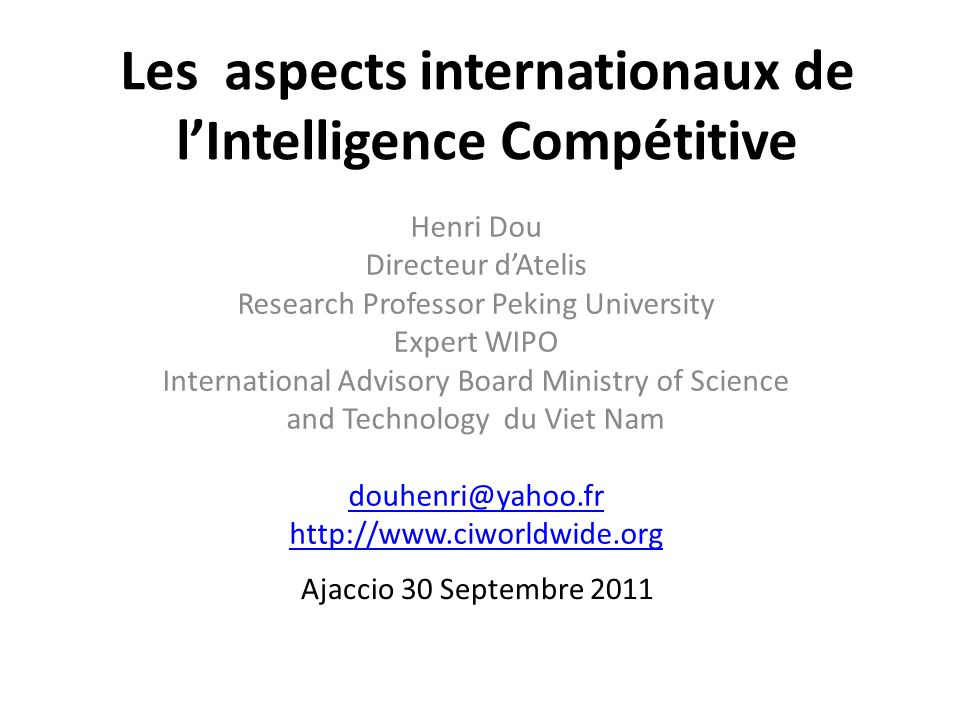 Les aspects internationaux de l'Intelligence Compétitive
