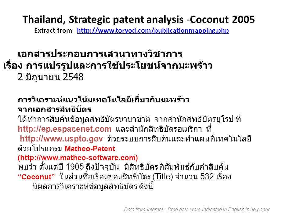 Thailand, Strategic patent analysis -Coconut 2005