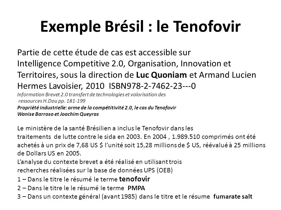 Exemple Brésil : le Tenofovir