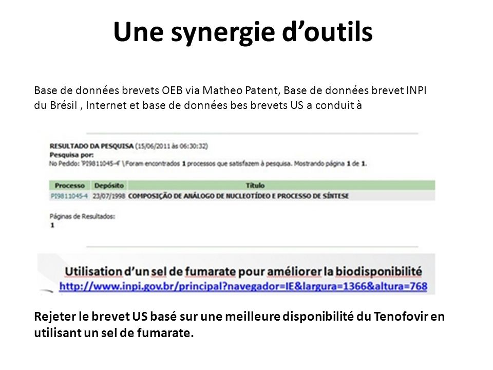 Une synergie d'outils Base de données brevets OEB via Matheo Patent, Base de données brevet INPI.