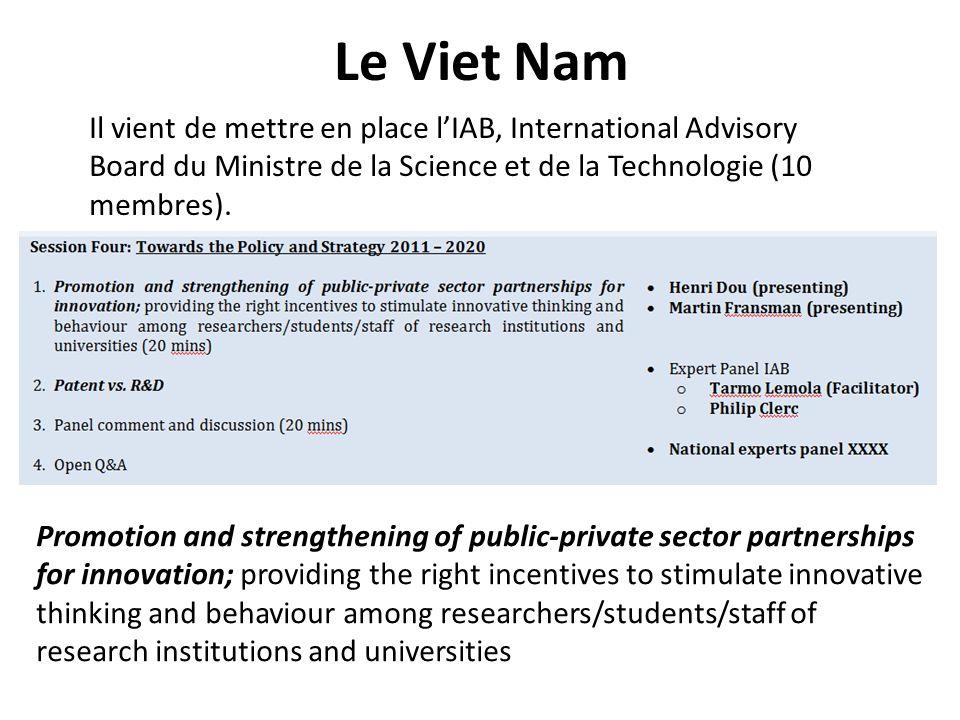 Le Viet Nam Il vient de mettre en place l'IAB, International Advisory Board du Ministre de la Science et de la Technologie (10 membres).