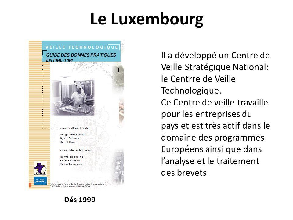 Le Luxembourg Il a développé un Centre de Veille Stratégique National: le Centrre de Veille Technologique.
