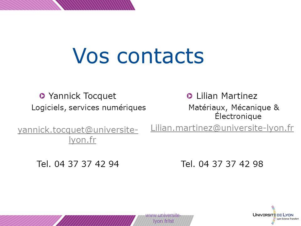 Vos contacts Yannick Tocquet yannick.tocquet@universite-lyon.fr