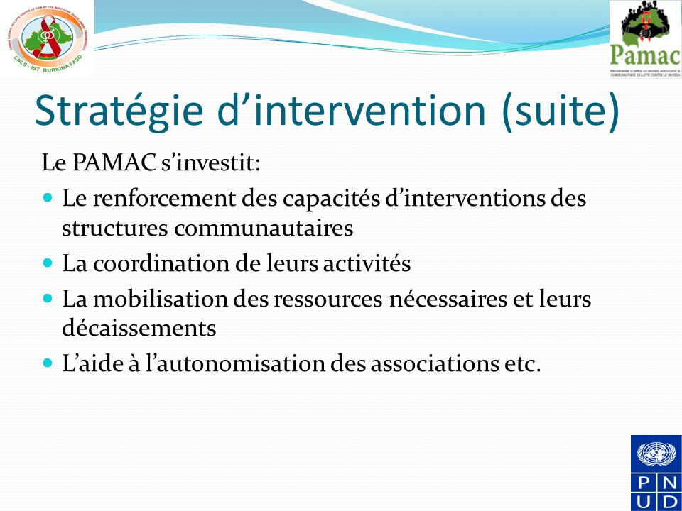 Stratégie d'intervention (suite)