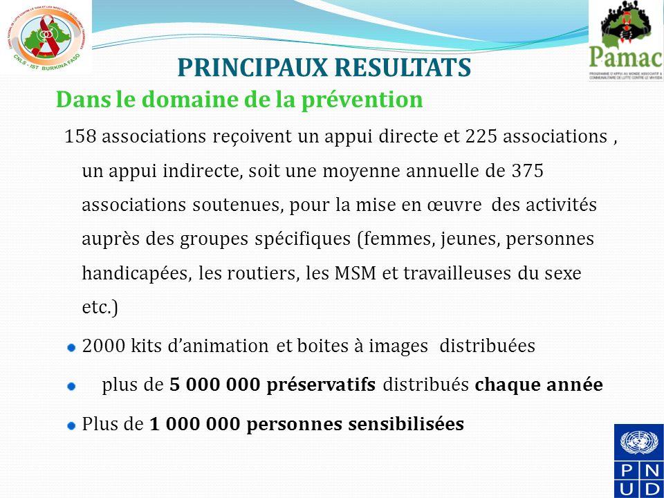 PRINCIPAUX RESULTATS Dans le domaine de la prévention