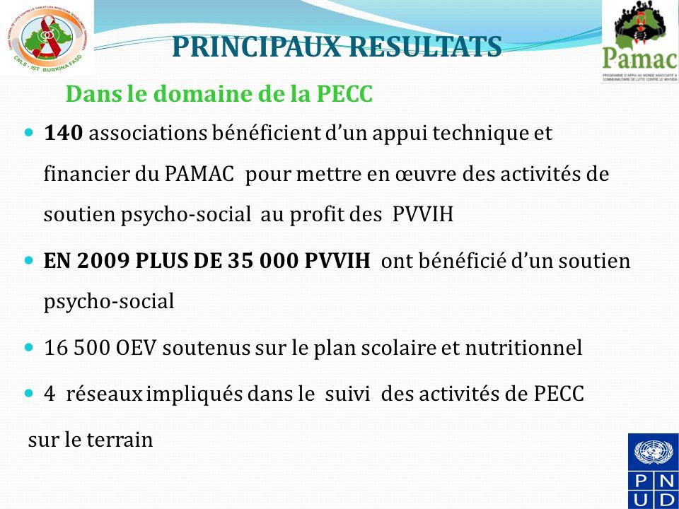 PRINCIPAUX RESULTATS Dans le domaine de la PECC