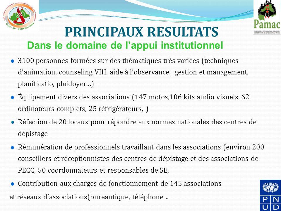 PRINCIPAUX RESULTATS Dans le domaine de l'appui institutionnel