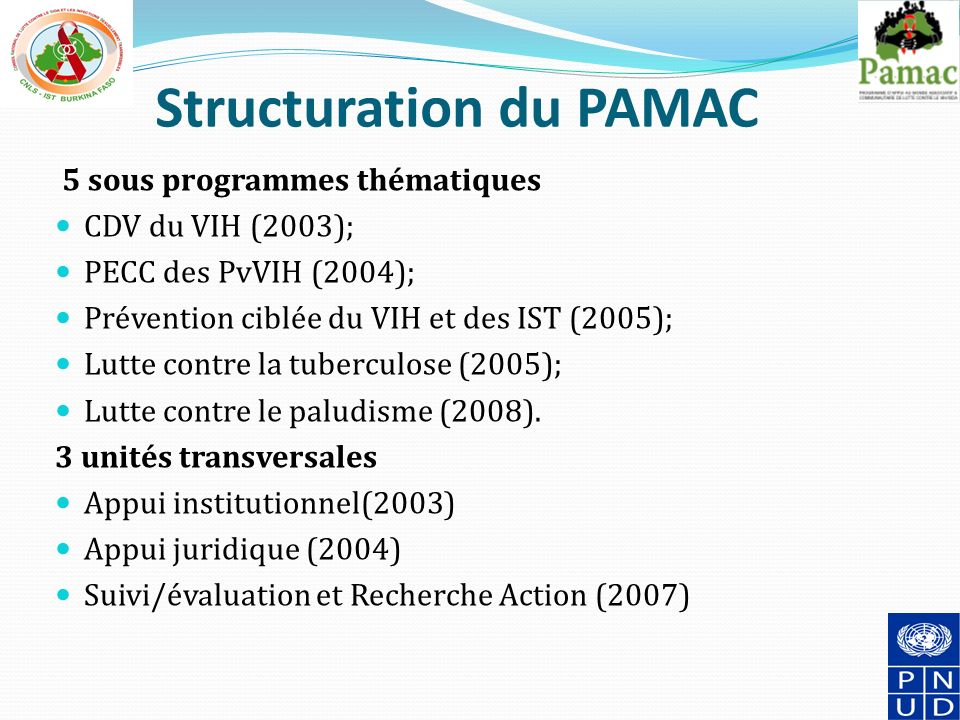 Structuration du PAMAC