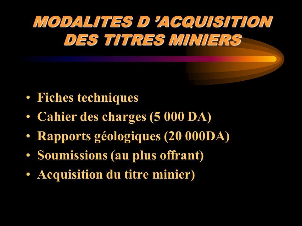 MODALITES D 'ACQUISITION DES TITRES MINIERS
