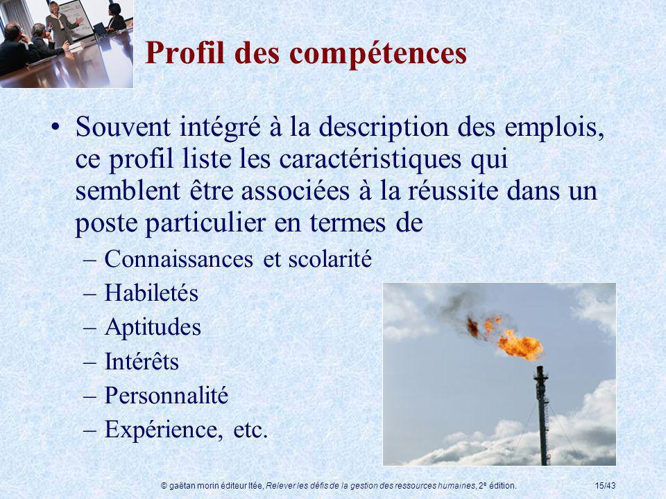 Profil des compétences