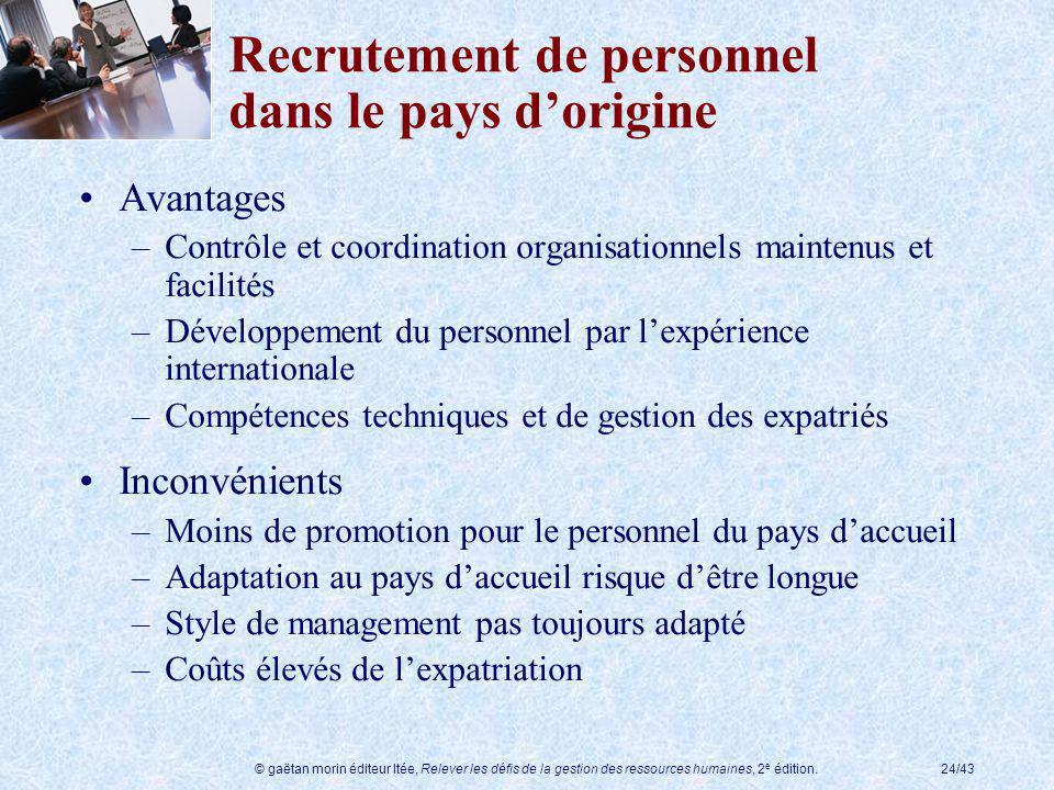 Recrutement de personnel dans le pays d'origine