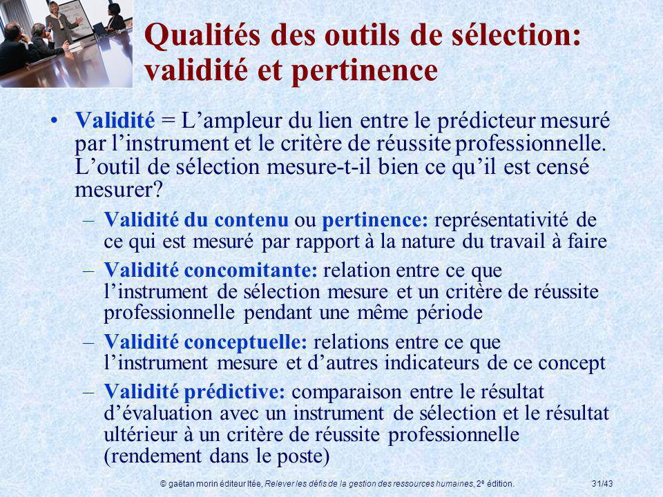 Qualités des outils de sélection: validité et pertinence