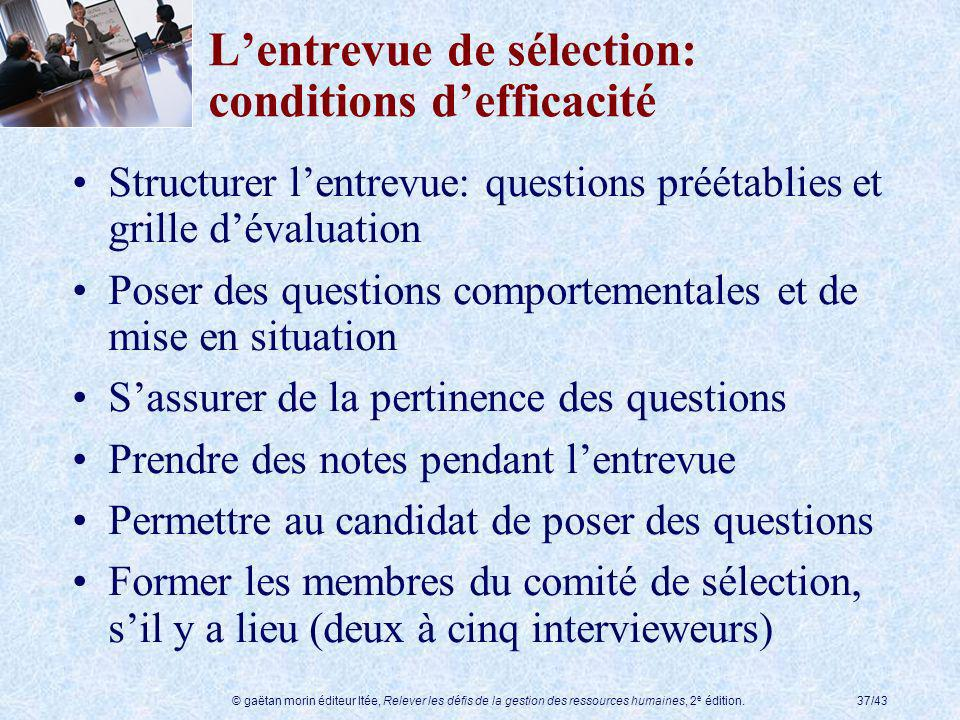 L'entrevue de sélection: conditions d'efficacité