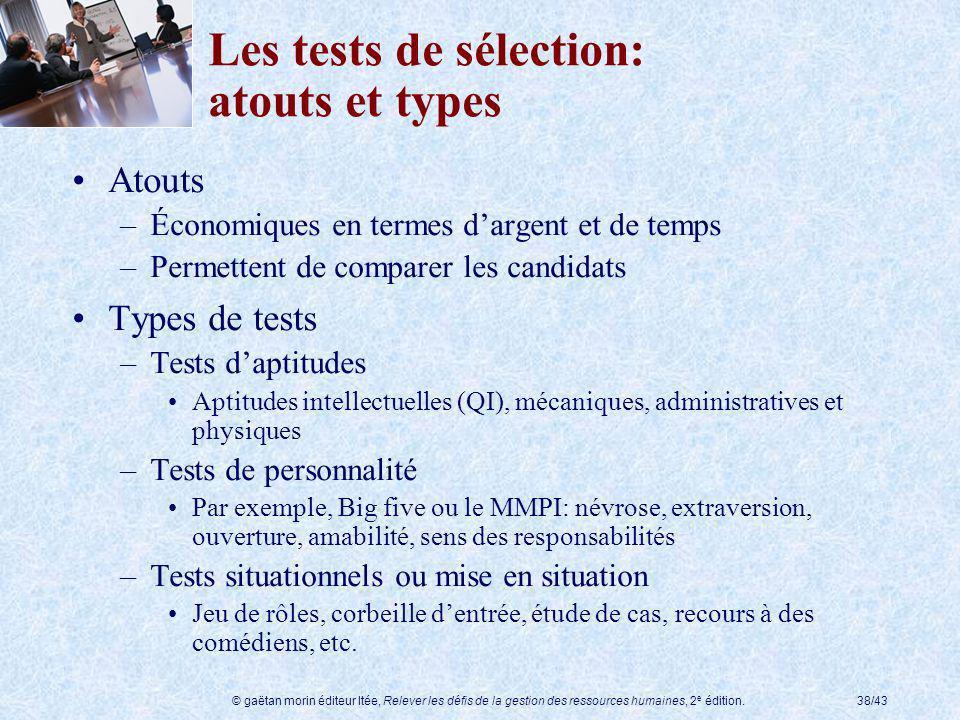 Les tests de sélection: atouts et types