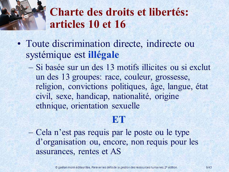 Charte des droits et libertés: articles 10 et 16
