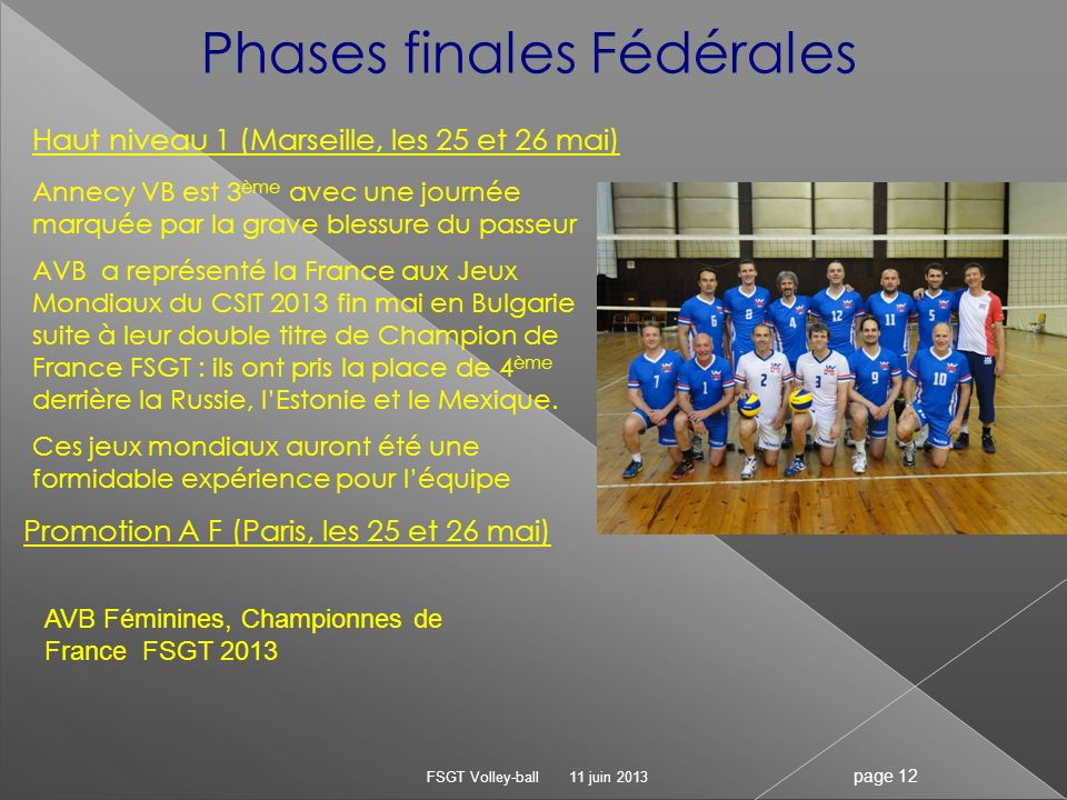 Phases finales Fédérales