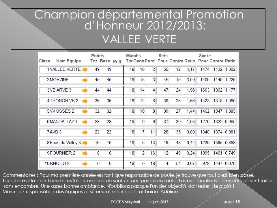 Champion départemental Promotion d'Honneur 2012/2013: