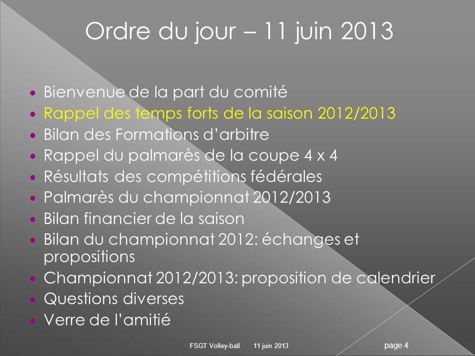 Ordre du jour – 11 juin 2013 Bienvenue de la part du comité