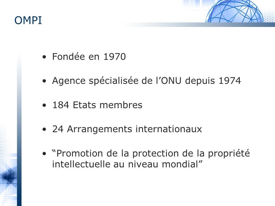 OMPI Fondée en 1970 Agence spécialisée de l'ONU depuis 1974