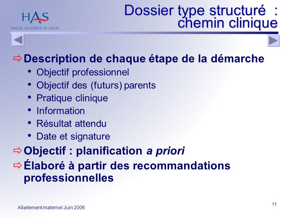 Dossier type structuré : chemin clinique