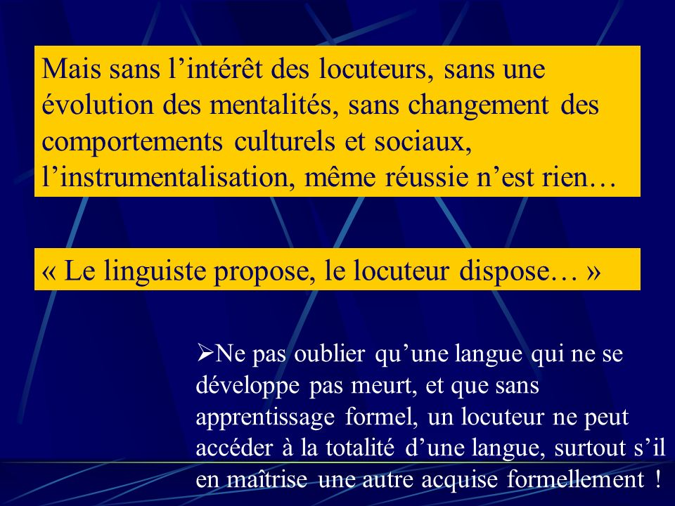 « Le linguiste propose, le locuteur dispose… »