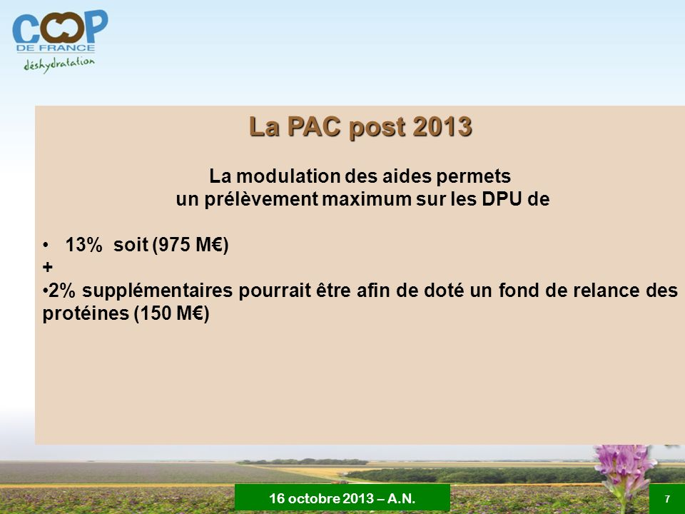 La modulation des aides permets un prélèvement maximum sur les DPU de