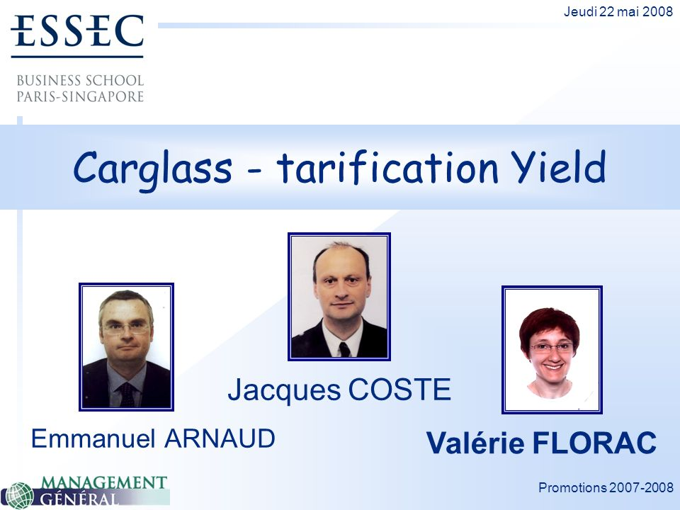 Carglass - tarification Yield