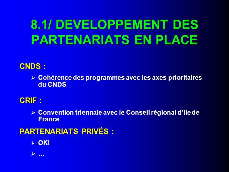 8.1/ DEVELOPPEMENT DES PARTENARIATS EN PLACE