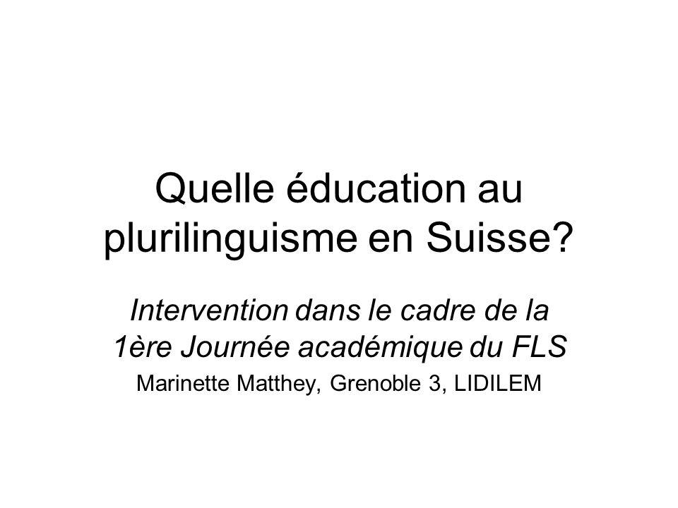 Quelle éducation au plurilinguisme en Suisse