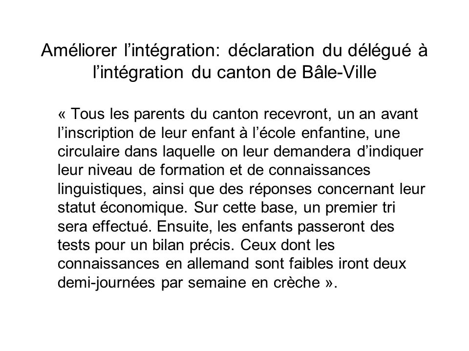 Améliorer l'intégration: déclaration du délégué à l'intégration du canton de Bâle-Ville