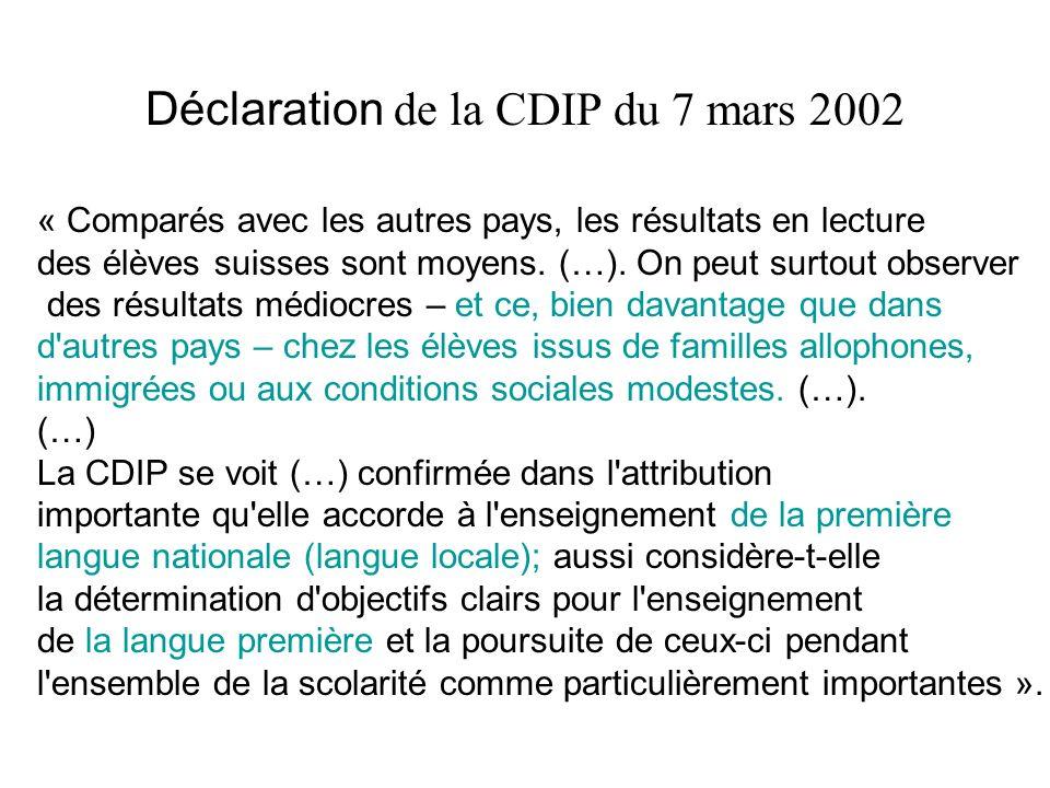 Déclaration de la CDIP du 7 mars 2002