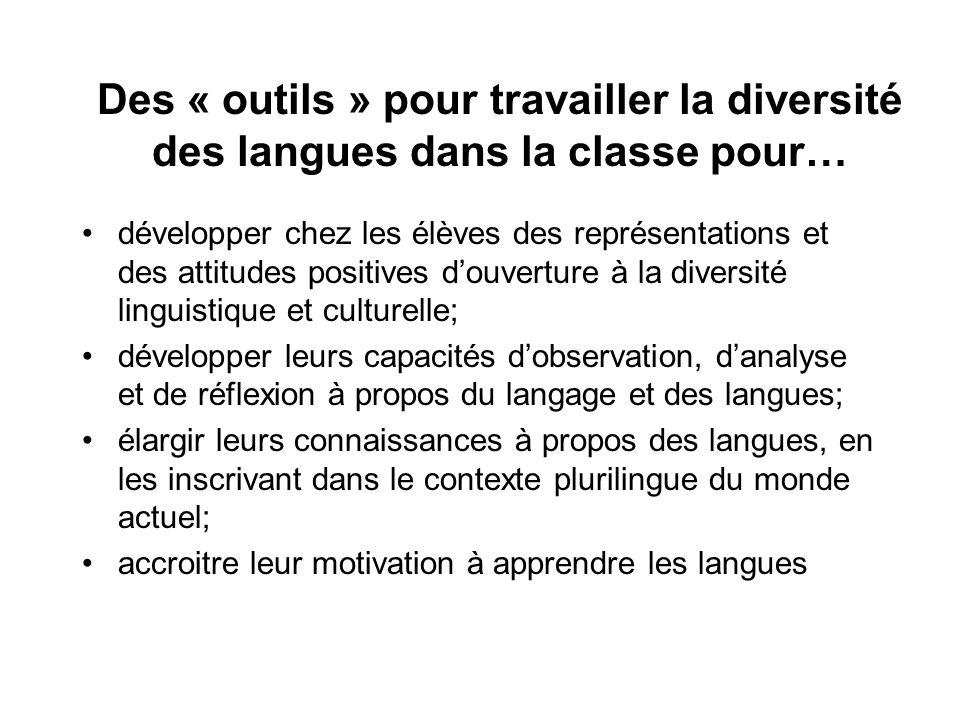 Des « outils » pour travailler la diversité des langues dans la classe pour…