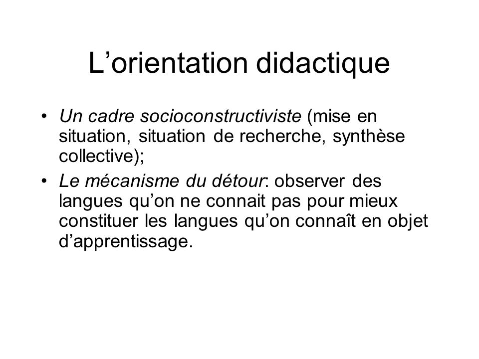 L'orientation didactique