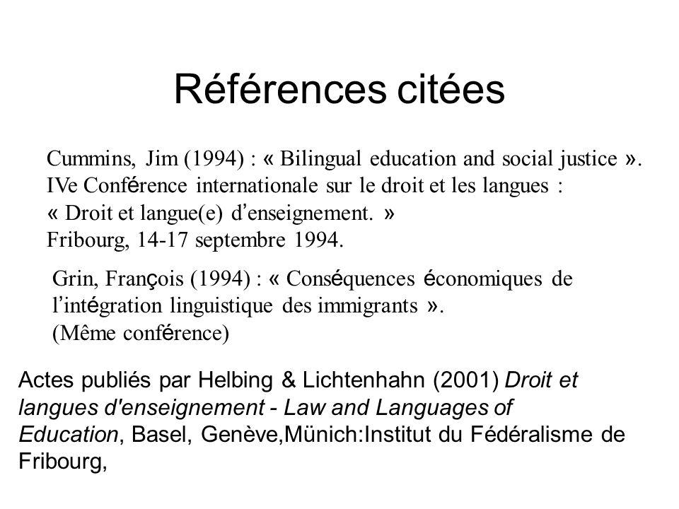 Références citées Cummins, Jim (1994) : « Bilingual education and social justice ». IVe Conférence internationale sur le droit et les langues :