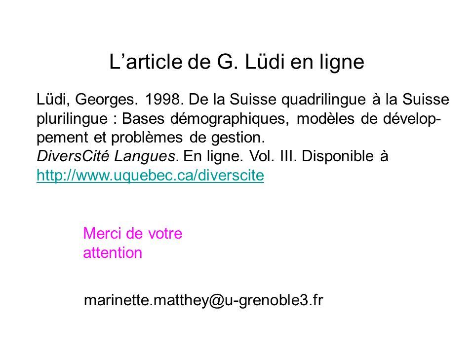 L'article de G. Lüdi en ligne