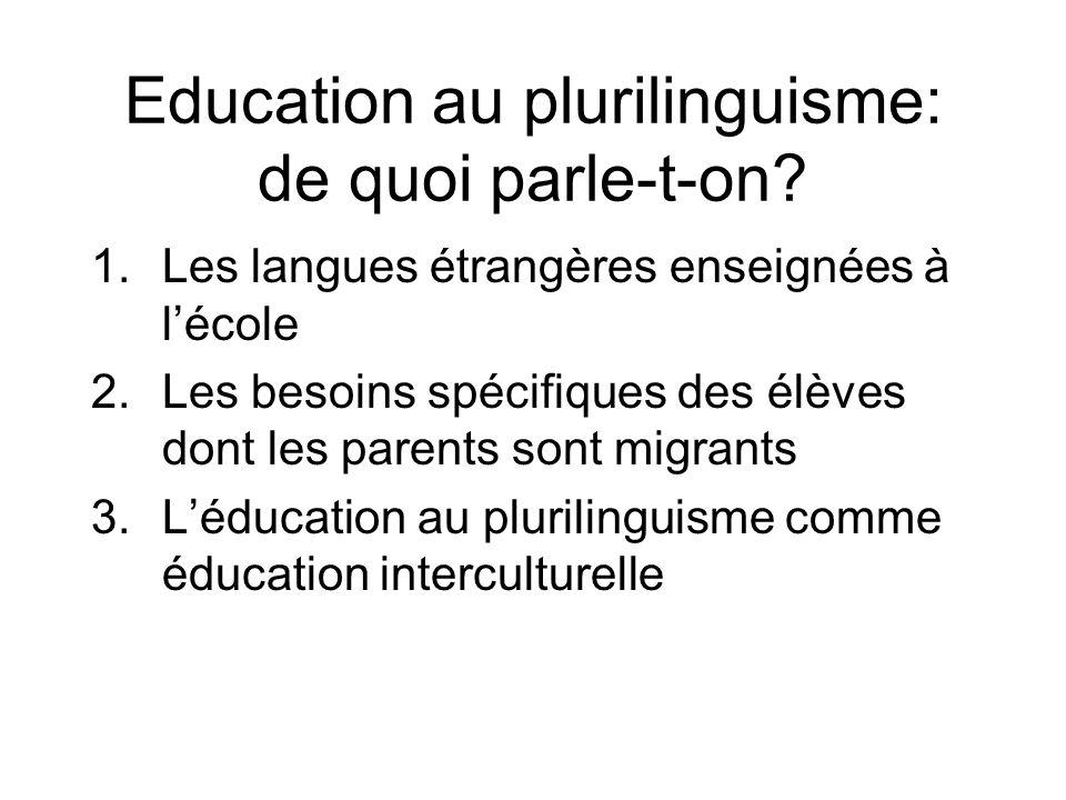 Education au plurilinguisme: de quoi parle-t-on