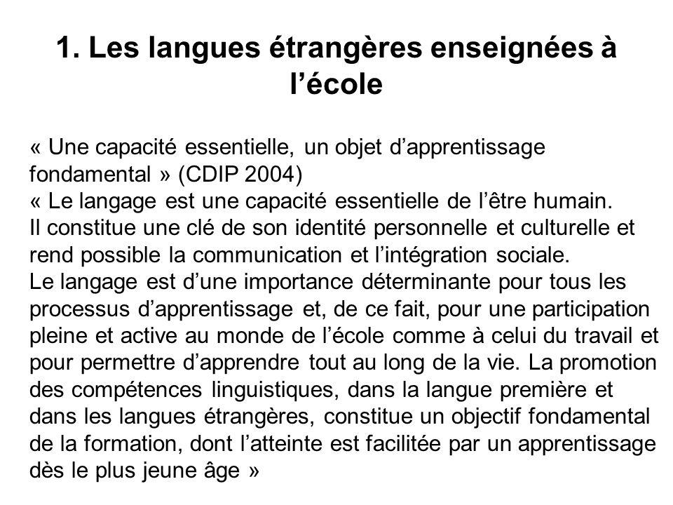 1. Les langues étrangères enseignées à l'école