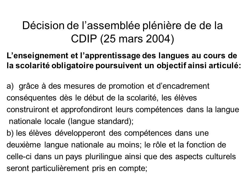 Décision de l'assemblée plénière de de la CDIP (25 mars 2004)
