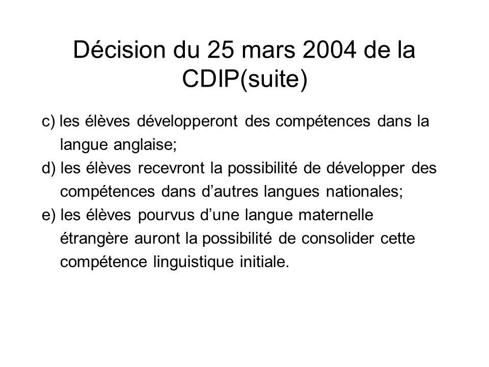 Décision du 25 mars 2004 de la CDIP(suite)