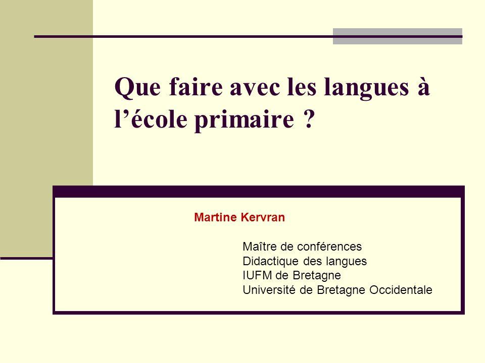 Que faire avec les langues à l'école primaire