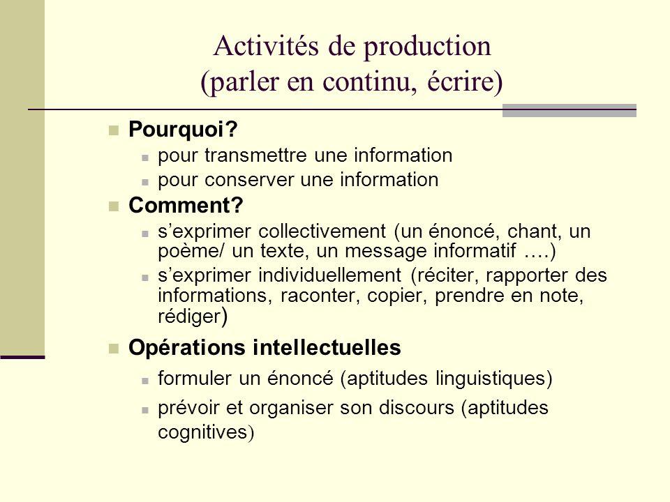 Activités de production (parler en continu, écrire)