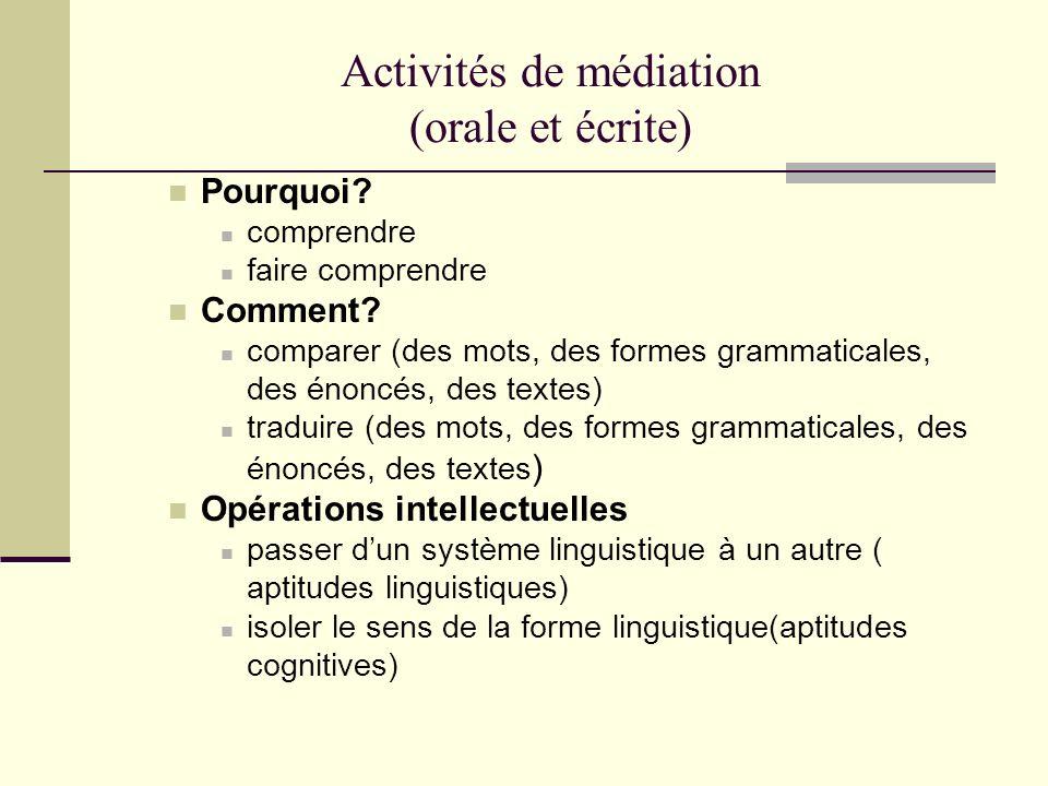Activités de médiation (orale et écrite)