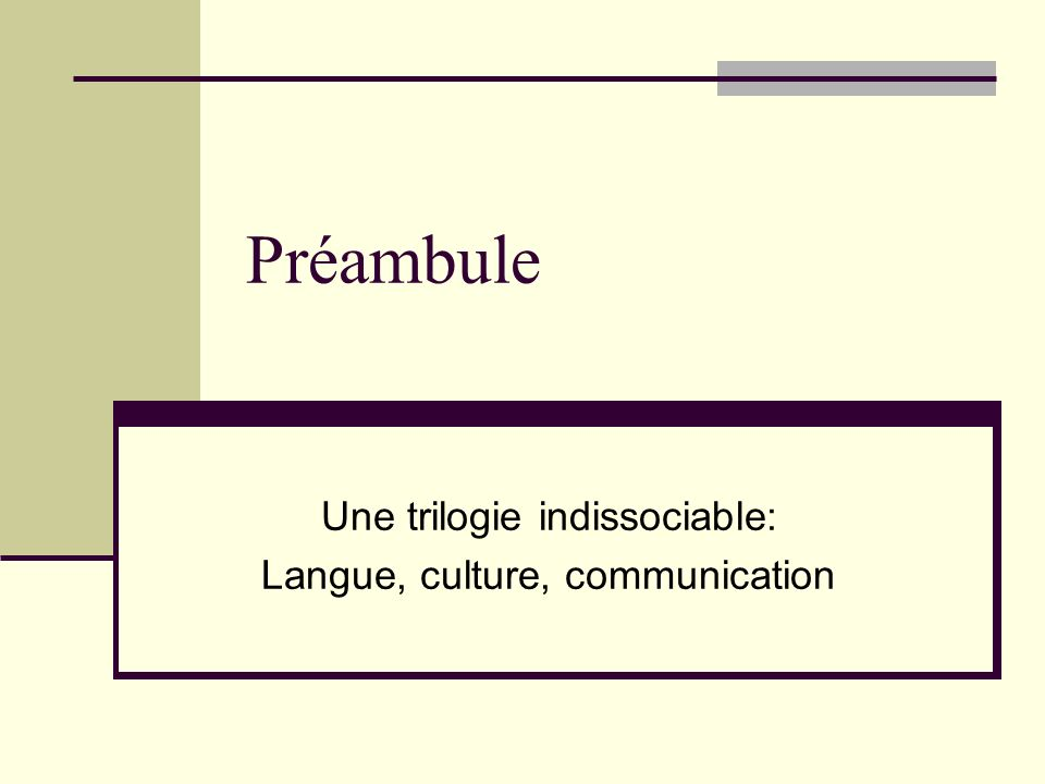 Une trilogie indissociable: Langue, culture, communication
