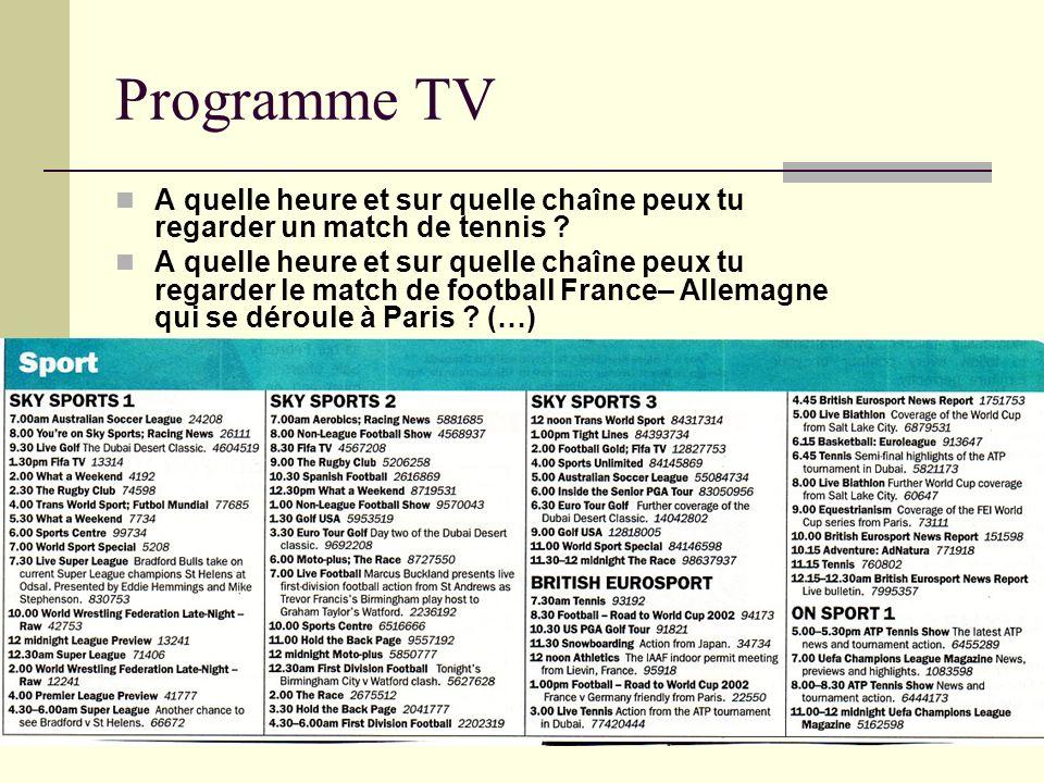 Programme TV A quelle heure et sur quelle chaîne peux tu regarder un match de tennis