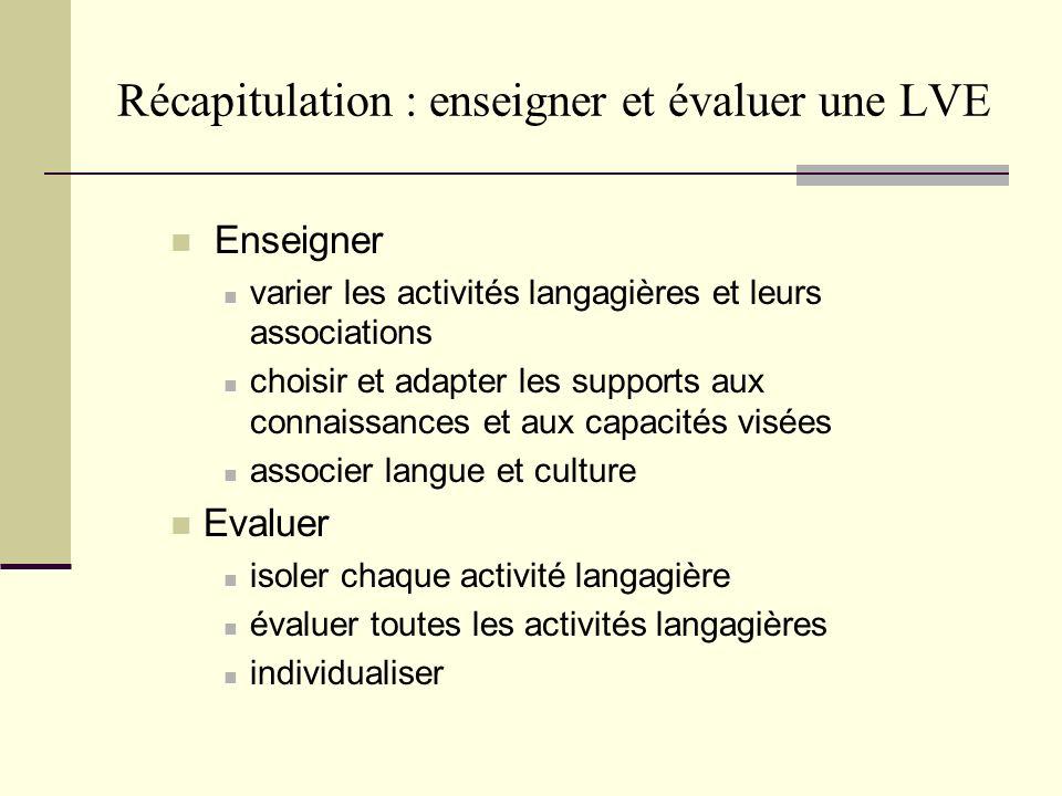 Récapitulation : enseigner et évaluer une LVE