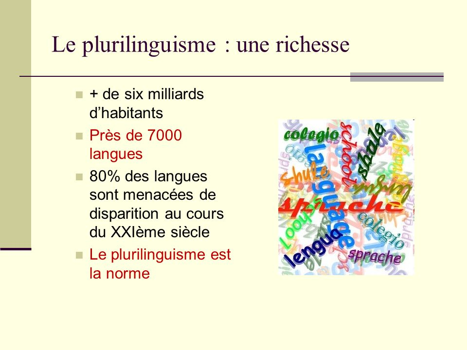 Le plurilinguisme : une richesse