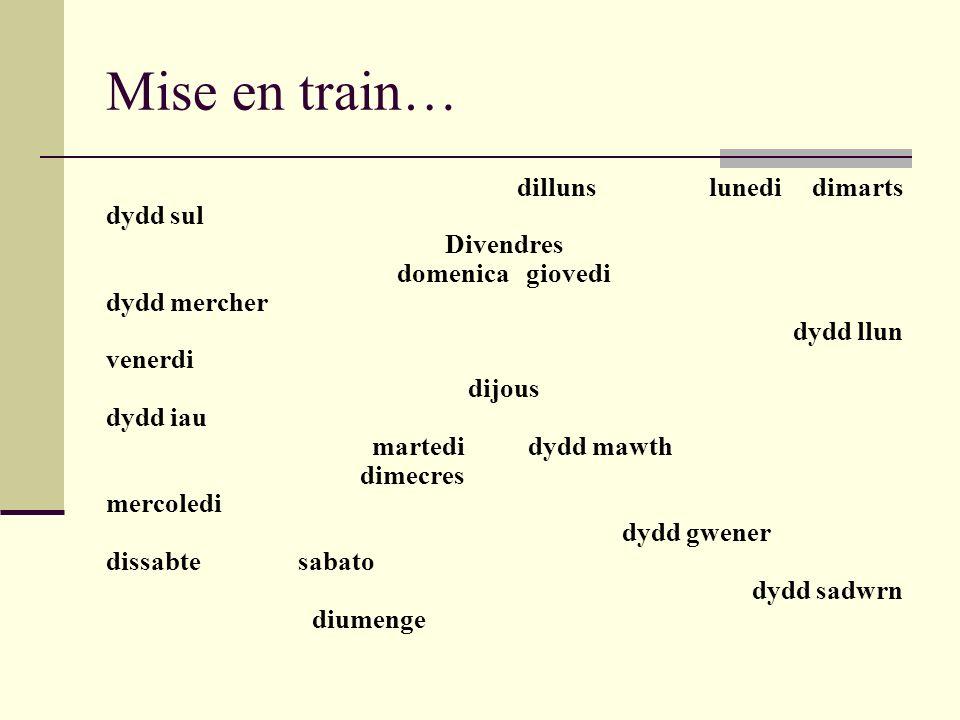 Mise en train… dilluns lunedi dimarts dydd sul Divendres